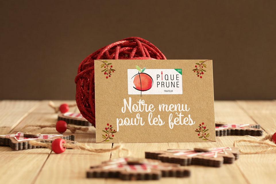 Carte menu de fête Pique-Prune