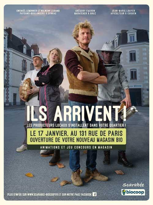 Affiche producteurs campagne d'ouverture Scarabée Biocoop rue de Paris