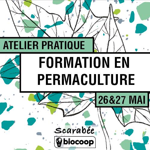 l'affiche du stage d'initiation à la permaculture co-organisé par Permabiose et Scarabée Biocoop