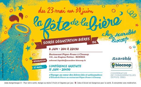 affiche soirée dégustation et conférence fête de la bière Scarabée Biocoop Rennes.