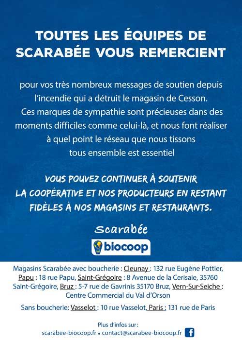 Affiche remerciement témoignages solidarité incendie magasin biocoop scarabée cesson