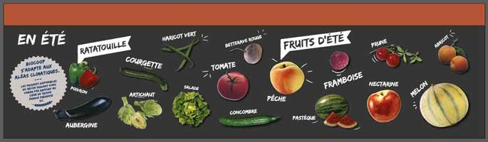 Frise saisonnalité Biocoop fruits et légumes été.